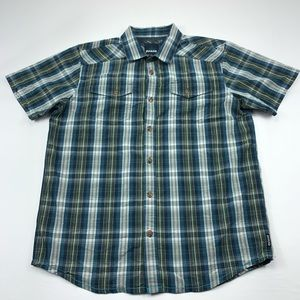 Prana shirt plaid short sleeve mens button down